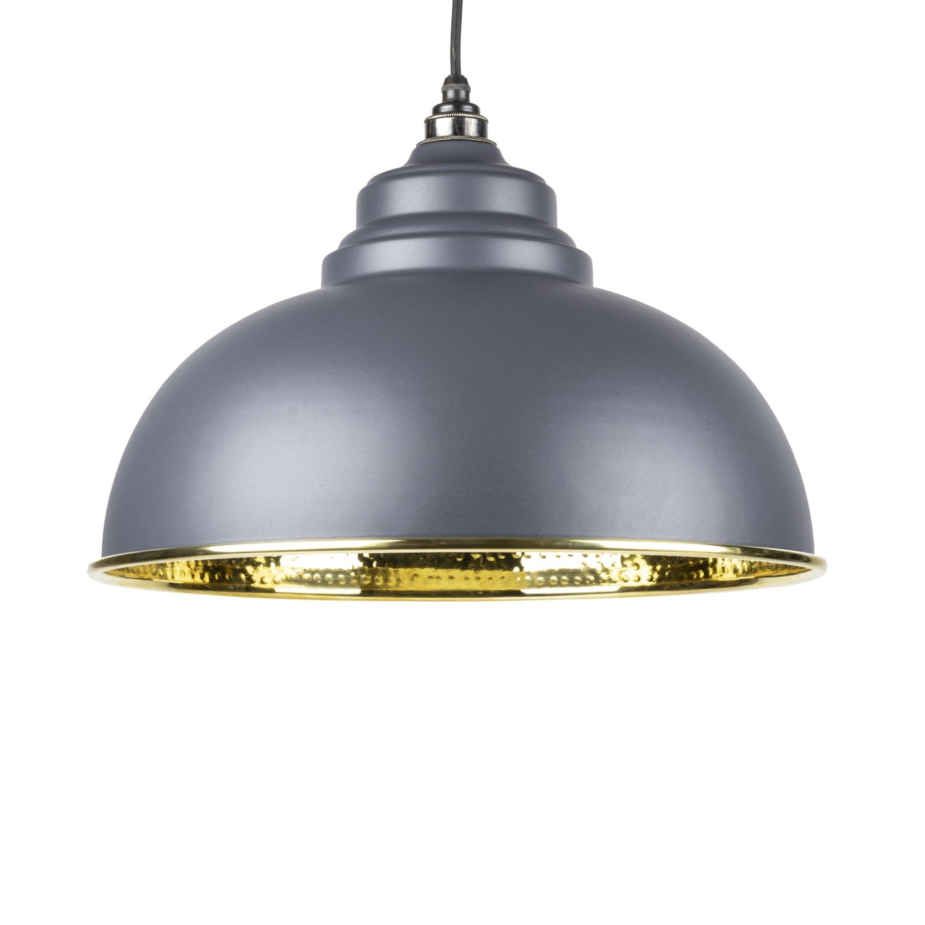 From The Anvil Dark Grey & Hammered Brass Interior Harborne Pendant - No.42 Interiors