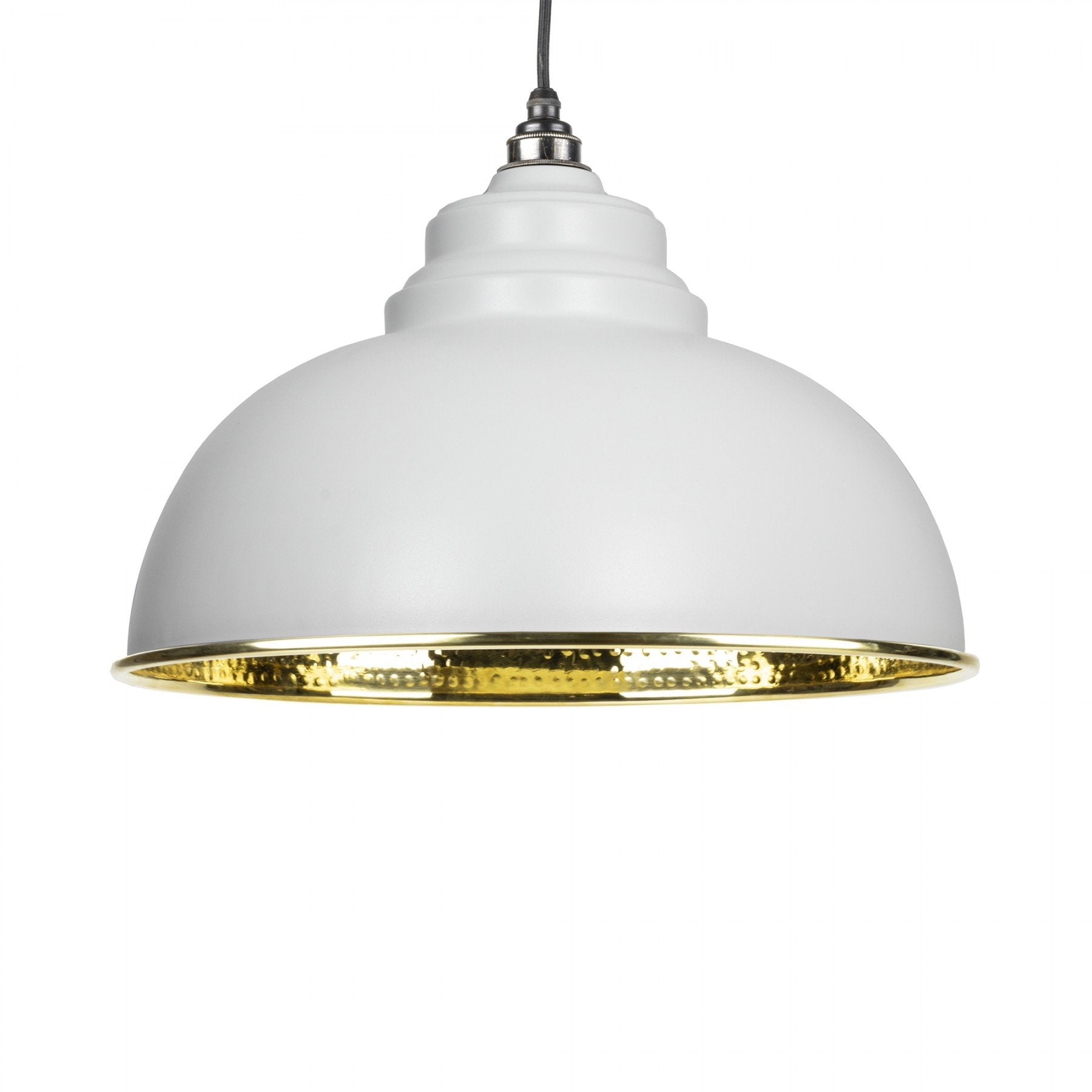 From The Anvil Light Grey & Hammered Brass Interior Harborne Pendant - No.42 Interiors