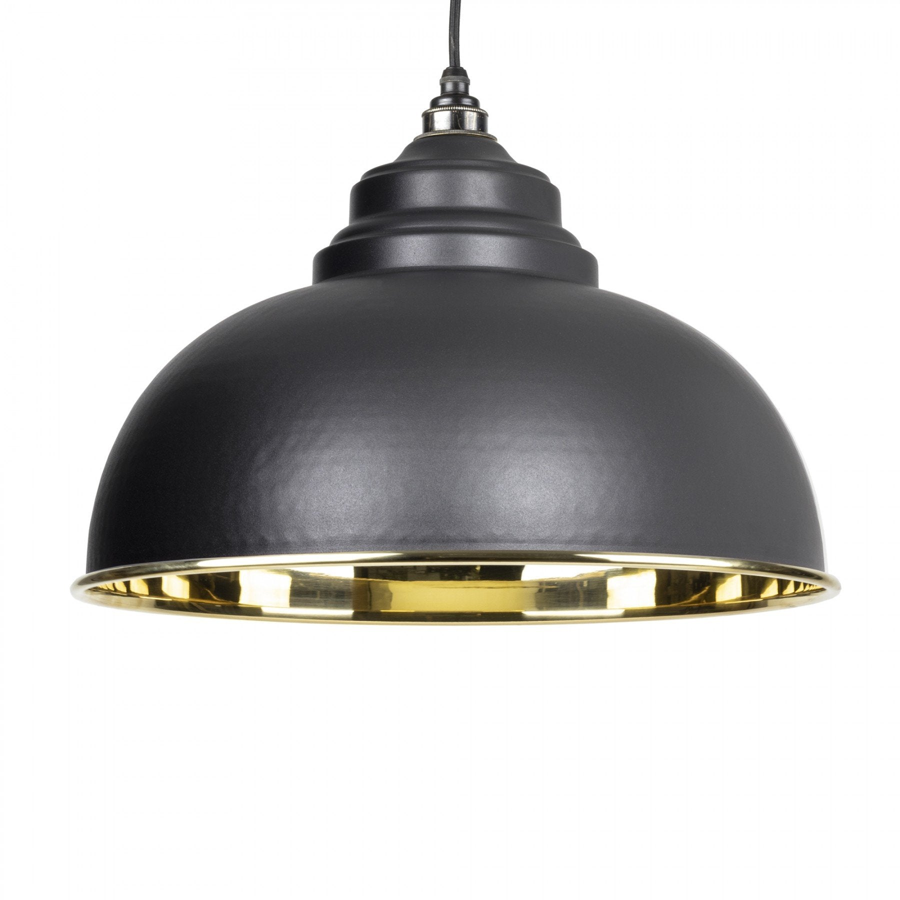 From The Anvil Black & Smooth Brass Interior Harborne Pendant - No.42 Interiors