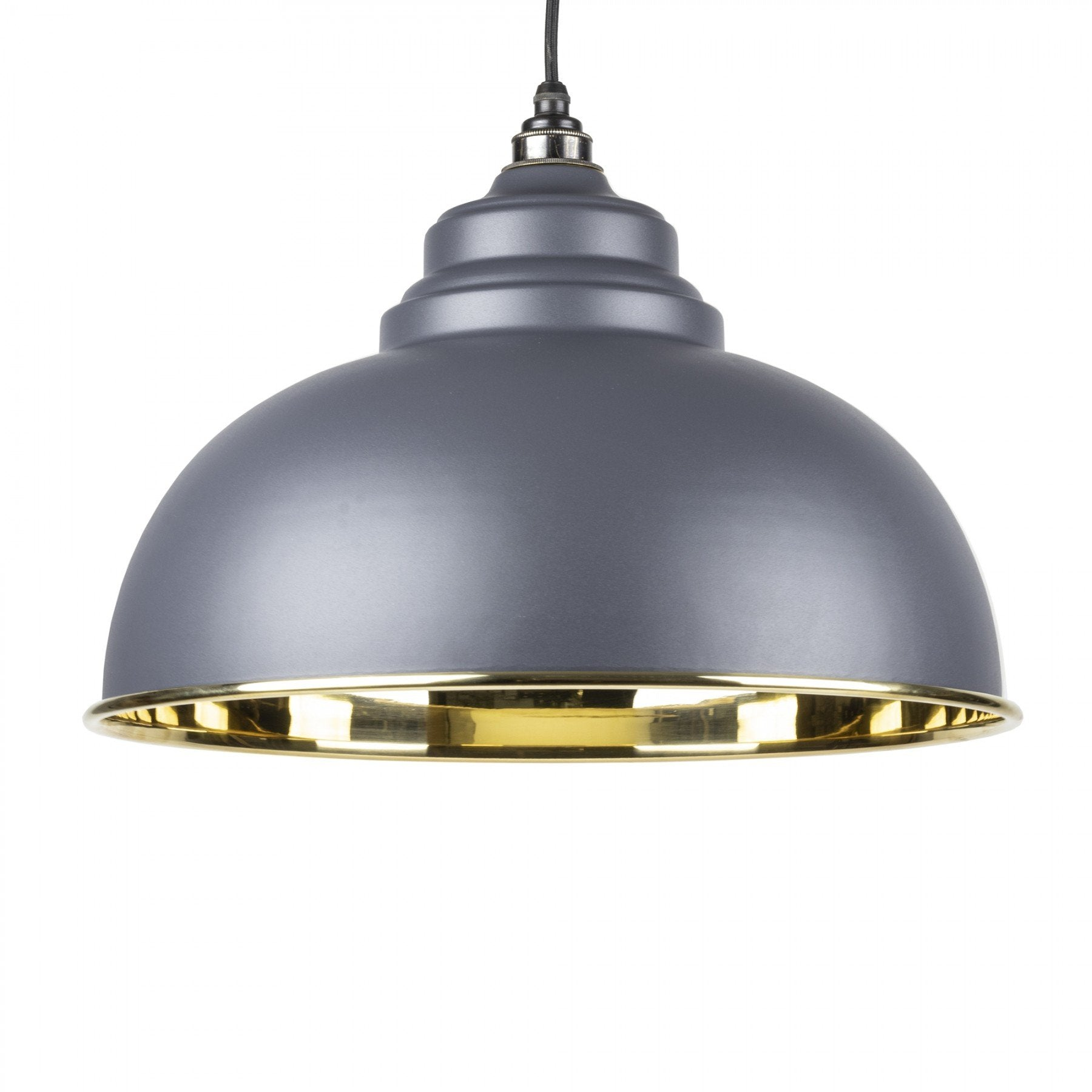 From The Anvil Dark Grey & Smooth Brass Interior Harborne Pendant - No.42 Interiors