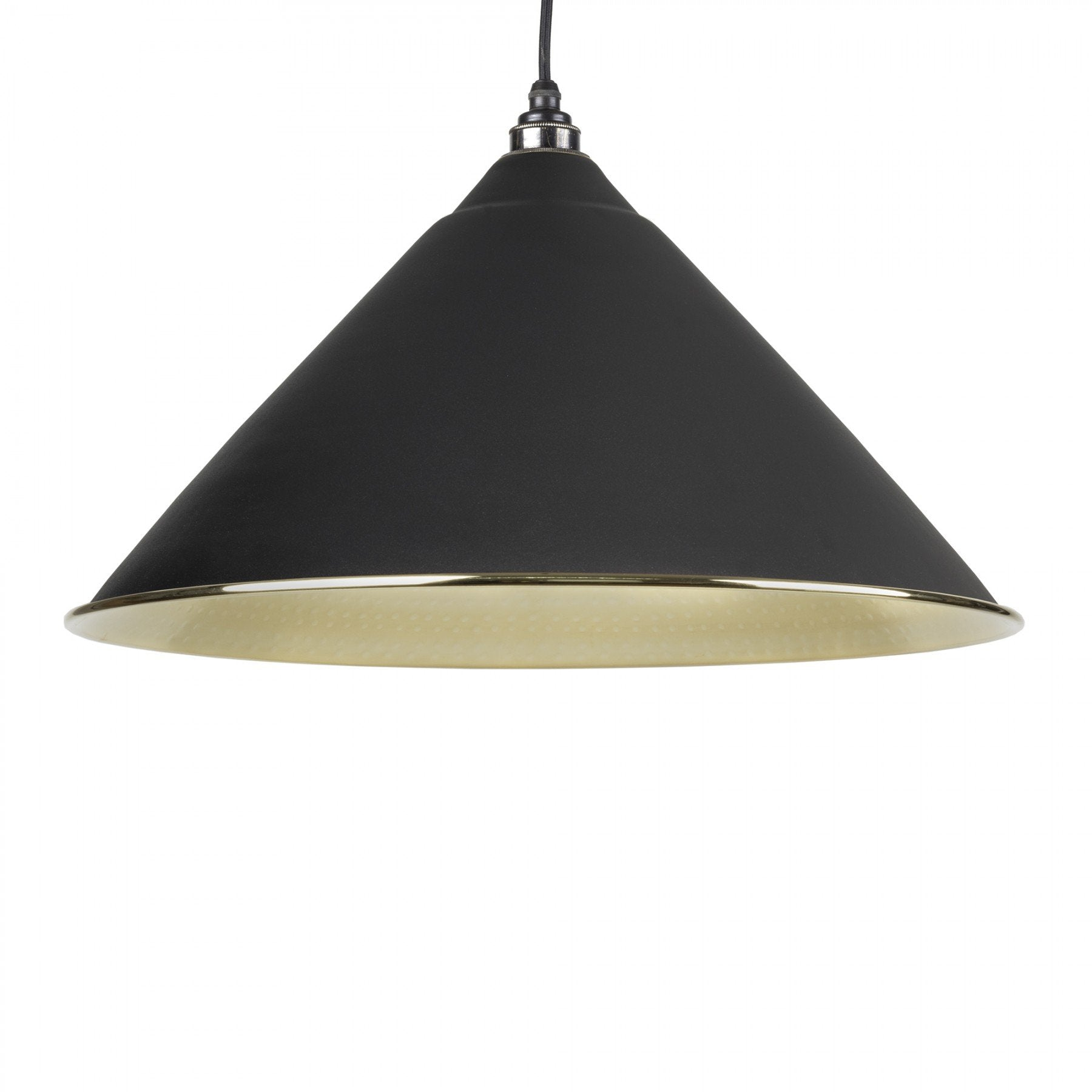From The Anvil Black & Hammered Brass Interior Hockley Pendant - No.42 Interiors