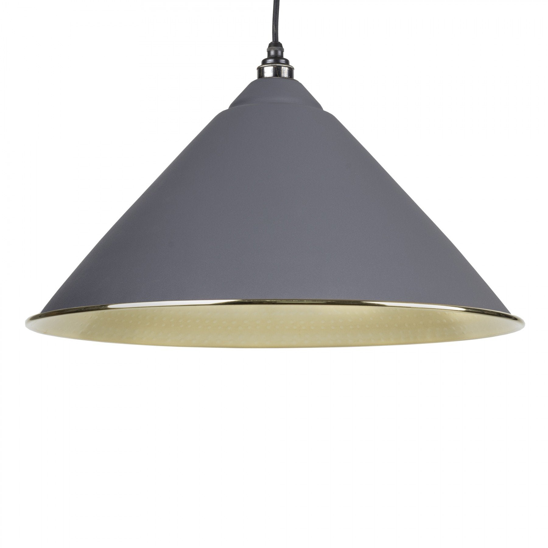 From The Anvil Dark Grey & Hammered Brass Interior Hockley Pendant - No.42 Interiors