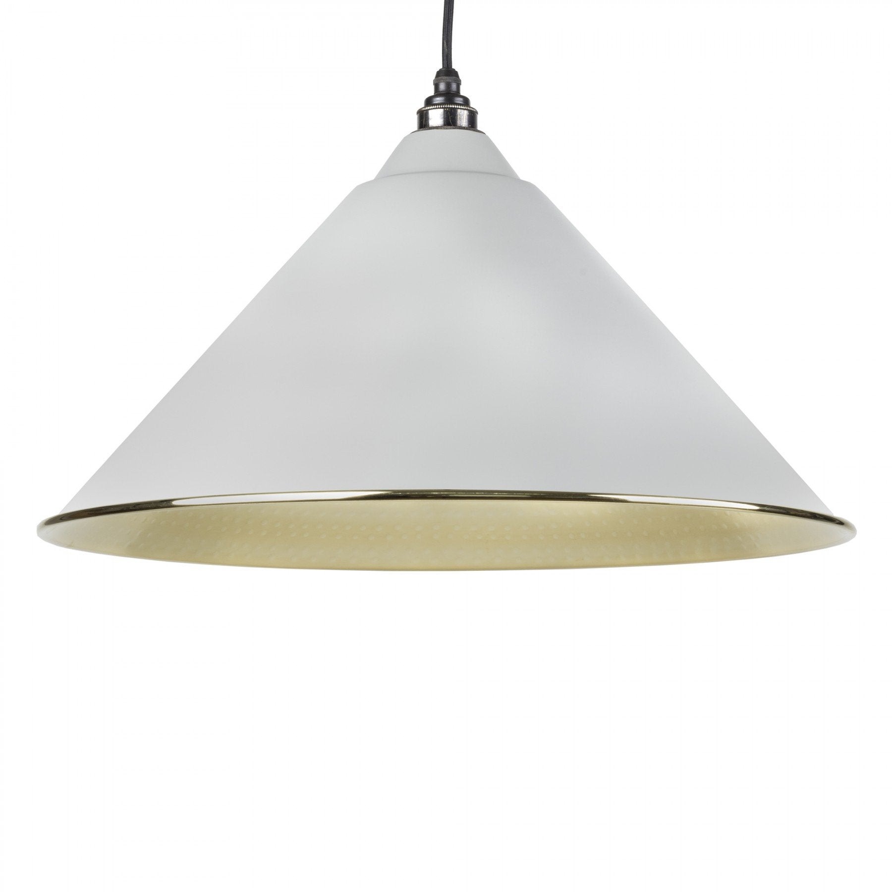 From The Anvil Light Grey & Hammered Brass Interior Hockley Pendant - No.42 Interiors