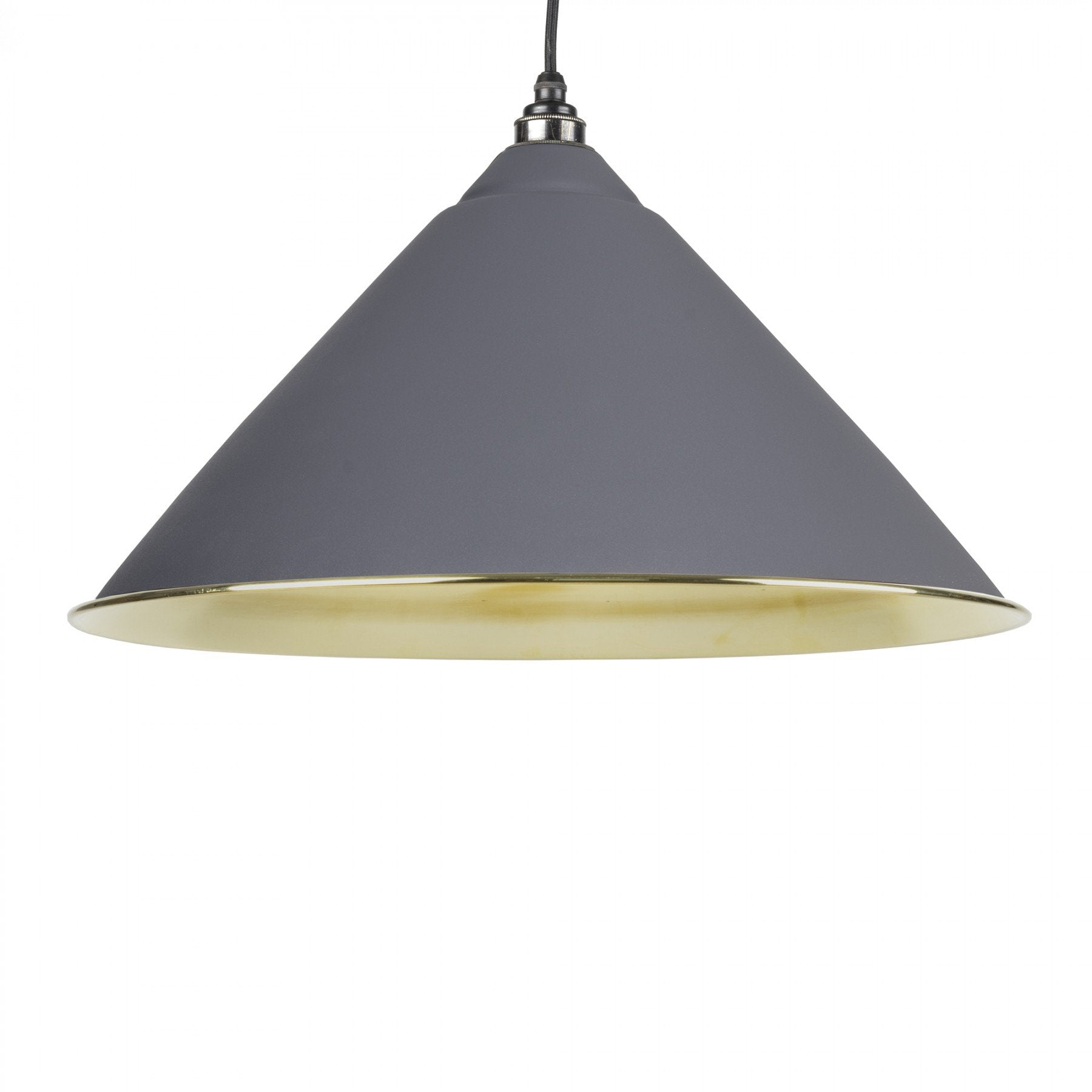From The Anvil Dark Grey & Smooth Brass Interior Hockley Pendant - No.42 Interiors