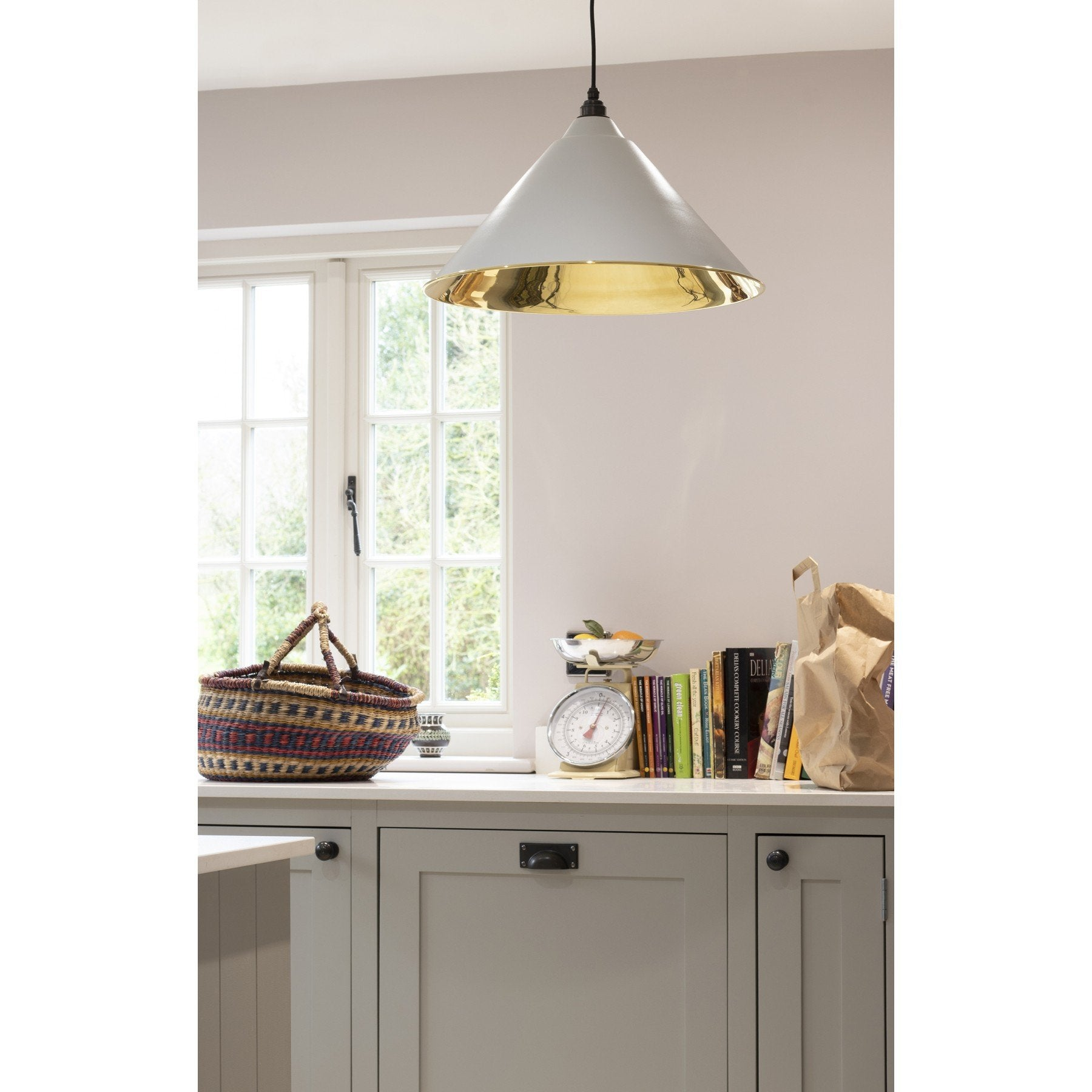 From The Anvil Light Grey & Smooth Brass Interior Hockley Pendant - No.42 Interiors