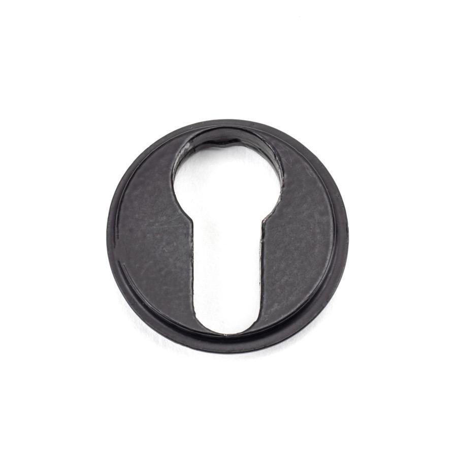 From the Anvil Matt Black Round Euro Escutcheon (Plain) - No.42 Interiors
