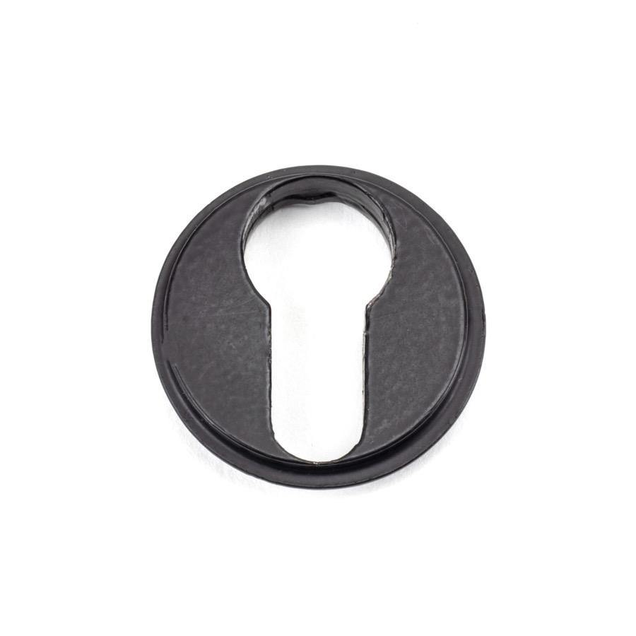 From the Anvil Matt Black Round Euro Escutcheon (Art Deco) - No.42 Interiors