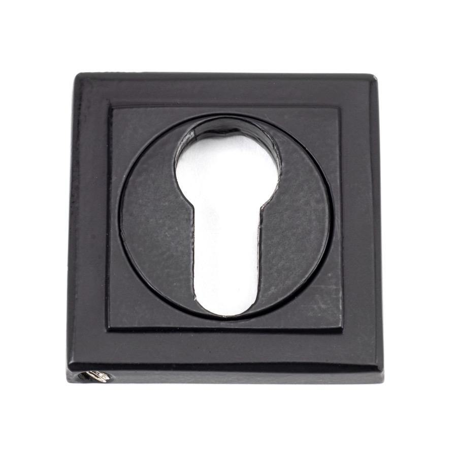 From the Anvil Matt Black Round Euro Escutcheon (Square) - No.42 Interiors