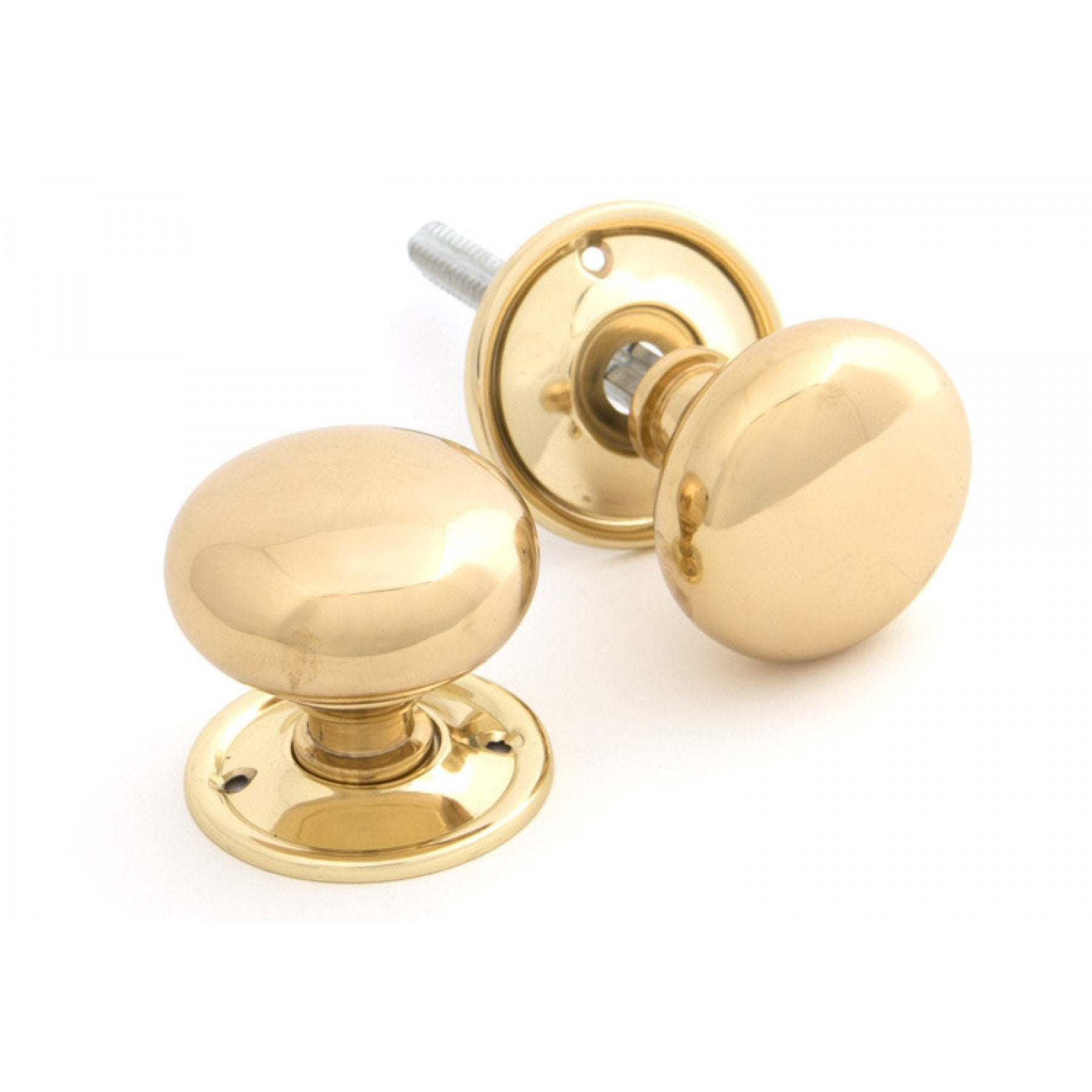 Polished Brass Mushroom Knob Set