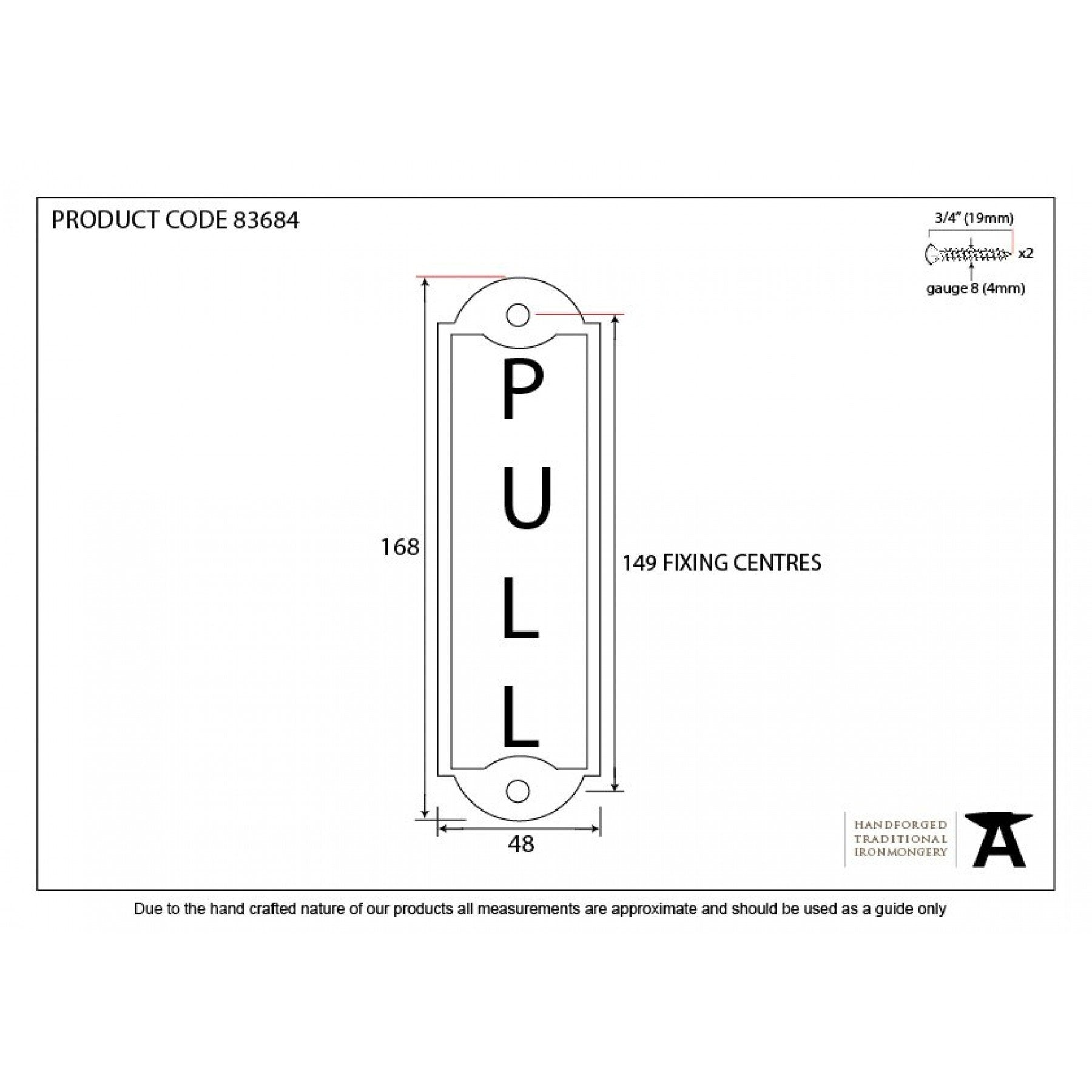 Pull Sign - Antique Pewter