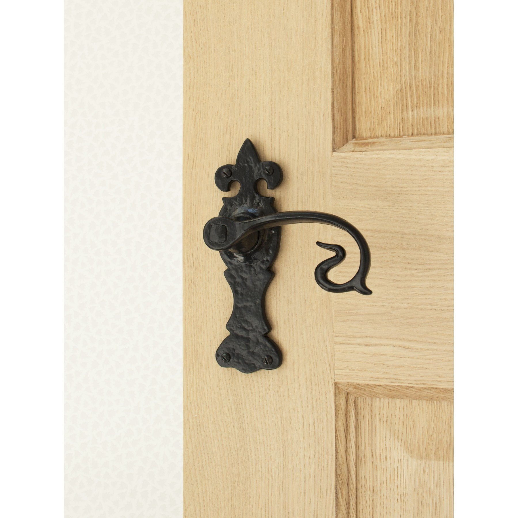 Black Curly Lever Latch Set