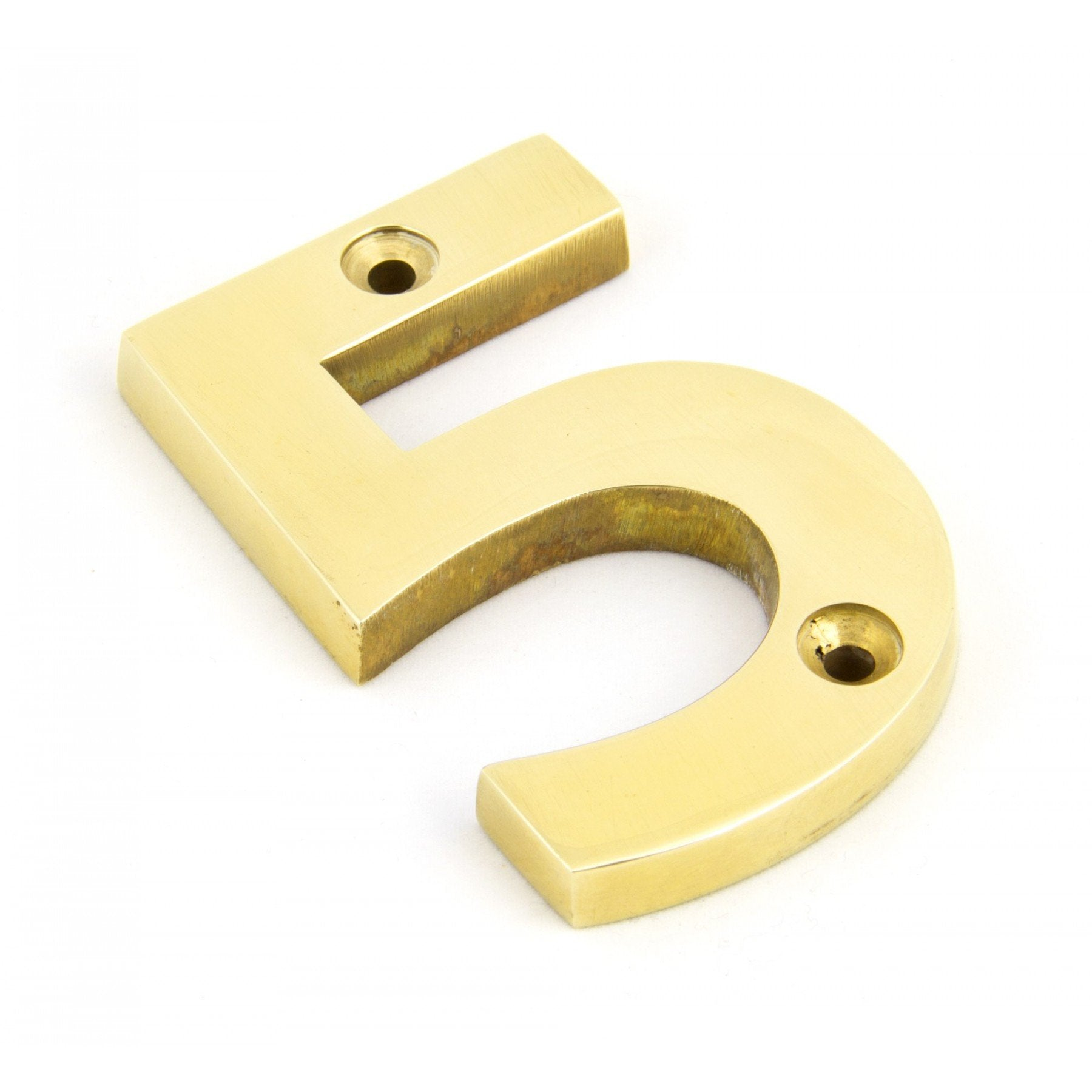 From the Anvil Polished Brass Numeral 5