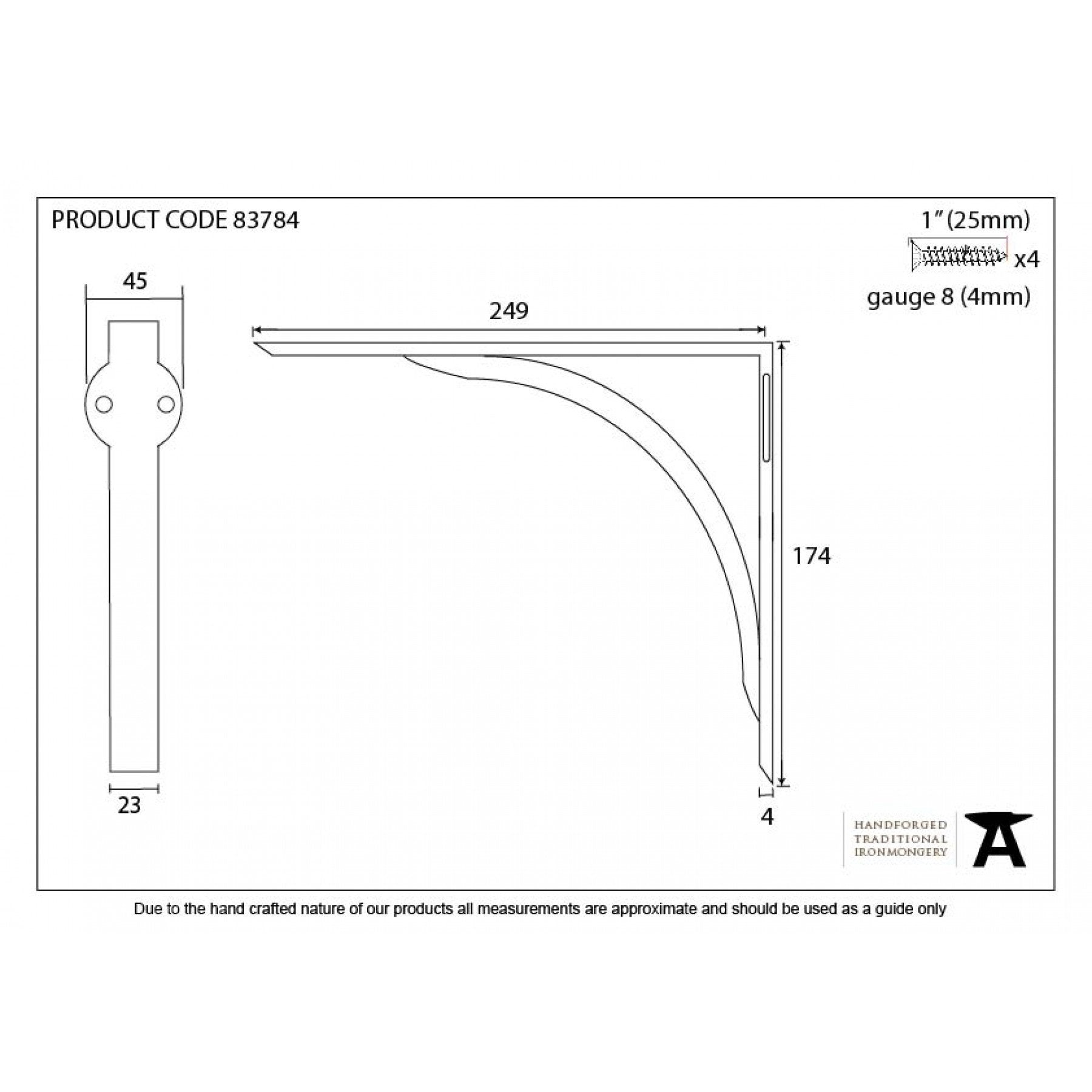"Black 10"" x 7"" Curved Shelf Bracket - No.42 Interiors"