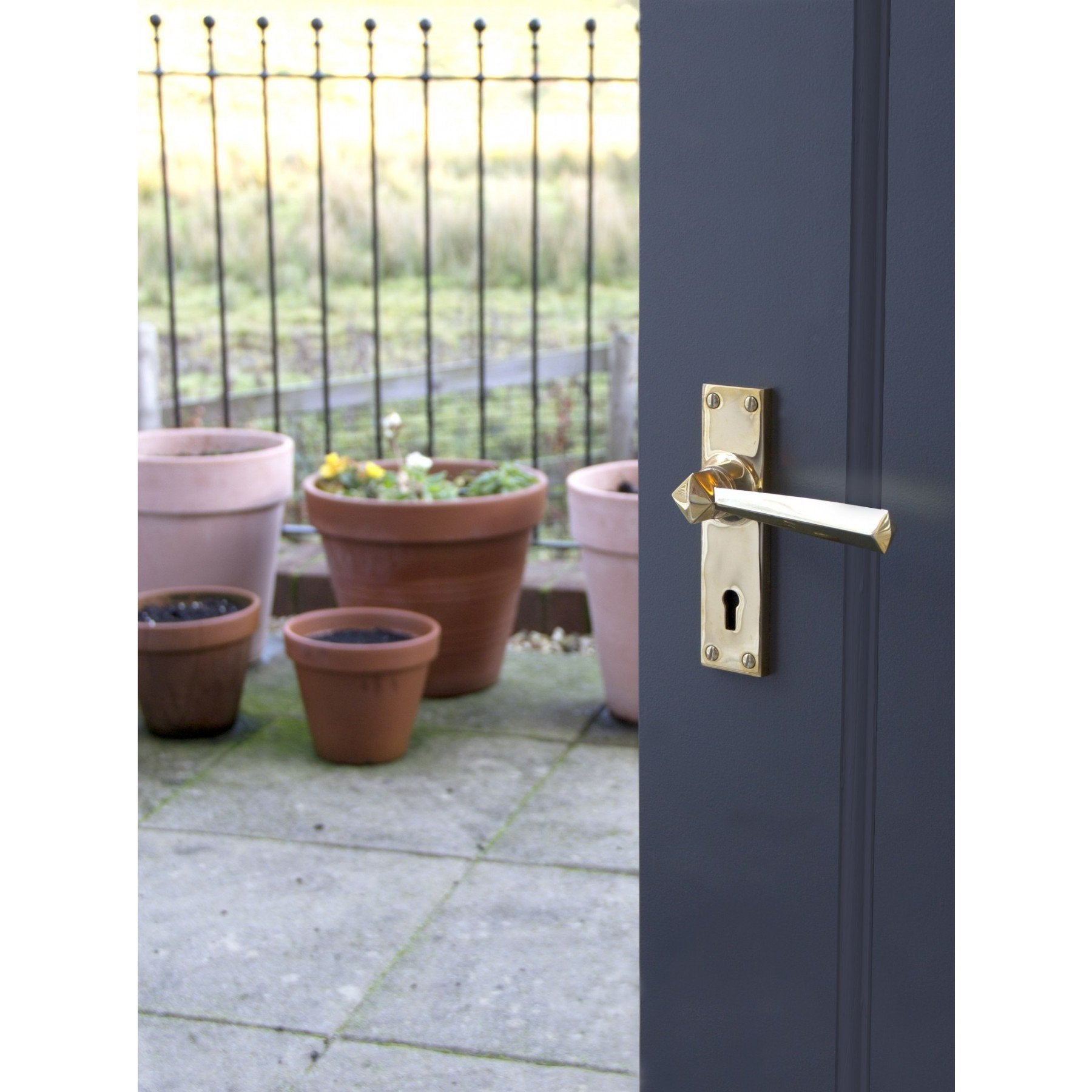 Polished Brass Straight Lever Lock Set