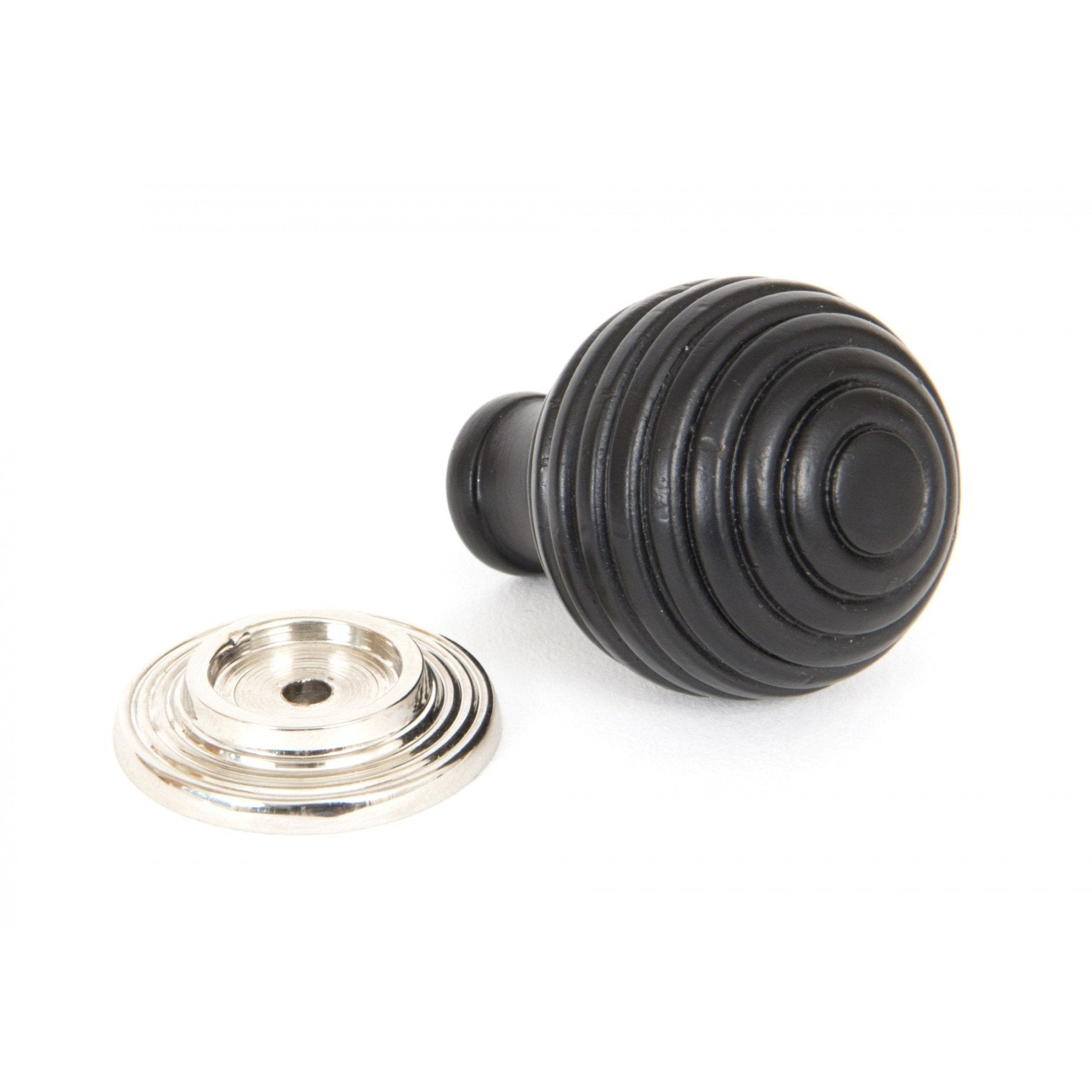 From the Anvil Ebony & Polished Nickel Beehive Cabinet Knob - Small