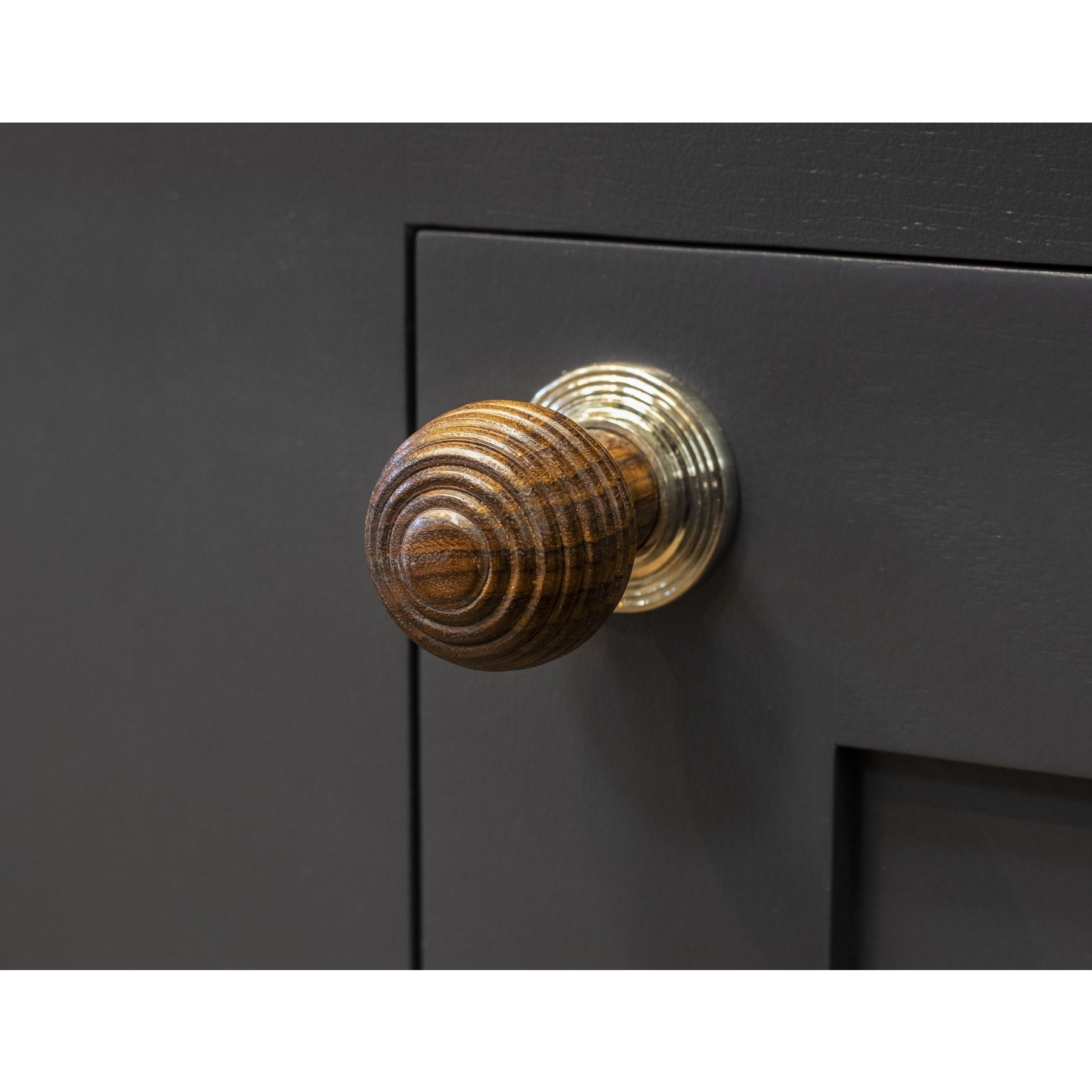 Rosewood & Polished Nickel Beehive Cabinet Knob - Large