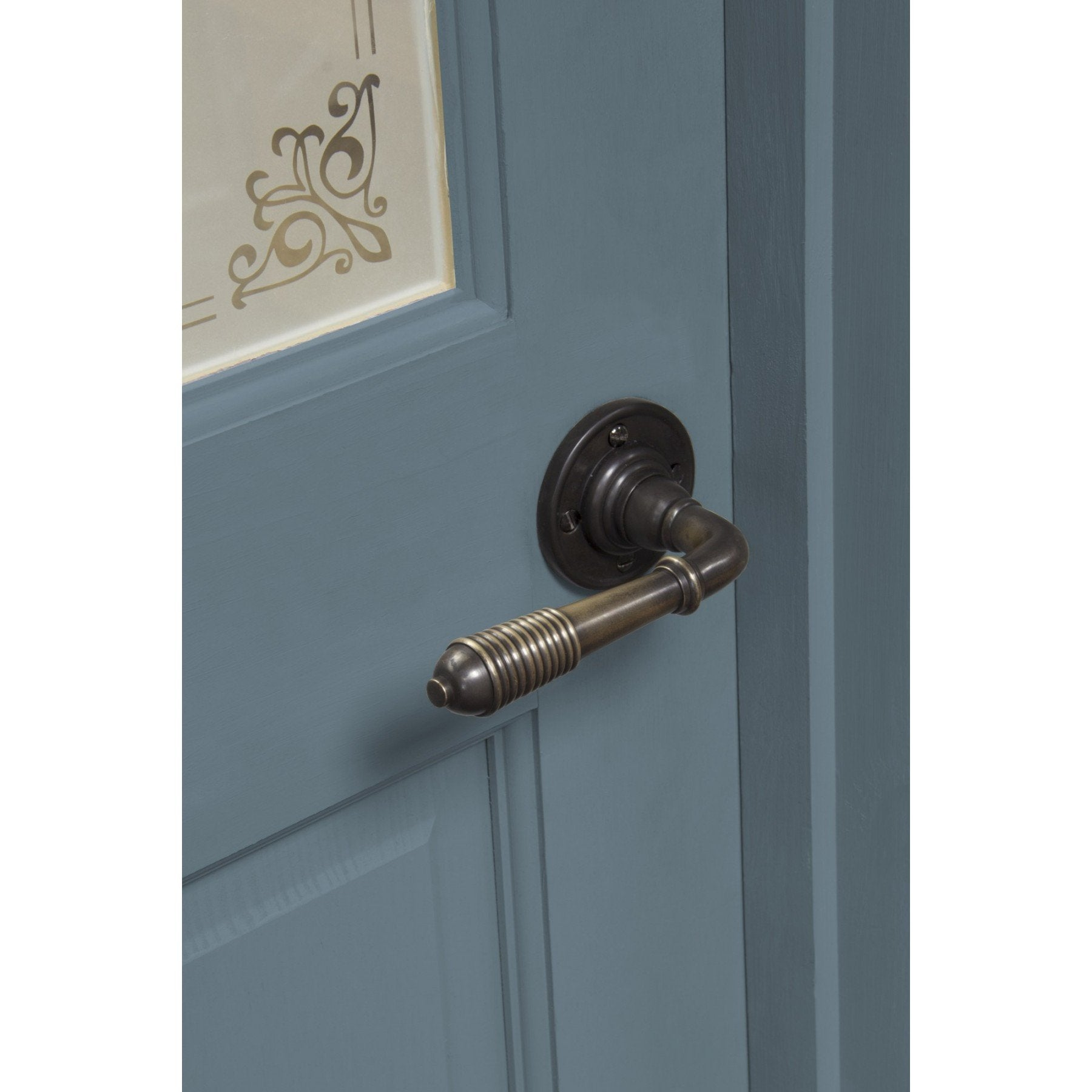 Aged Bronze Reeded Lever on Rose Set - No.42 Interiors