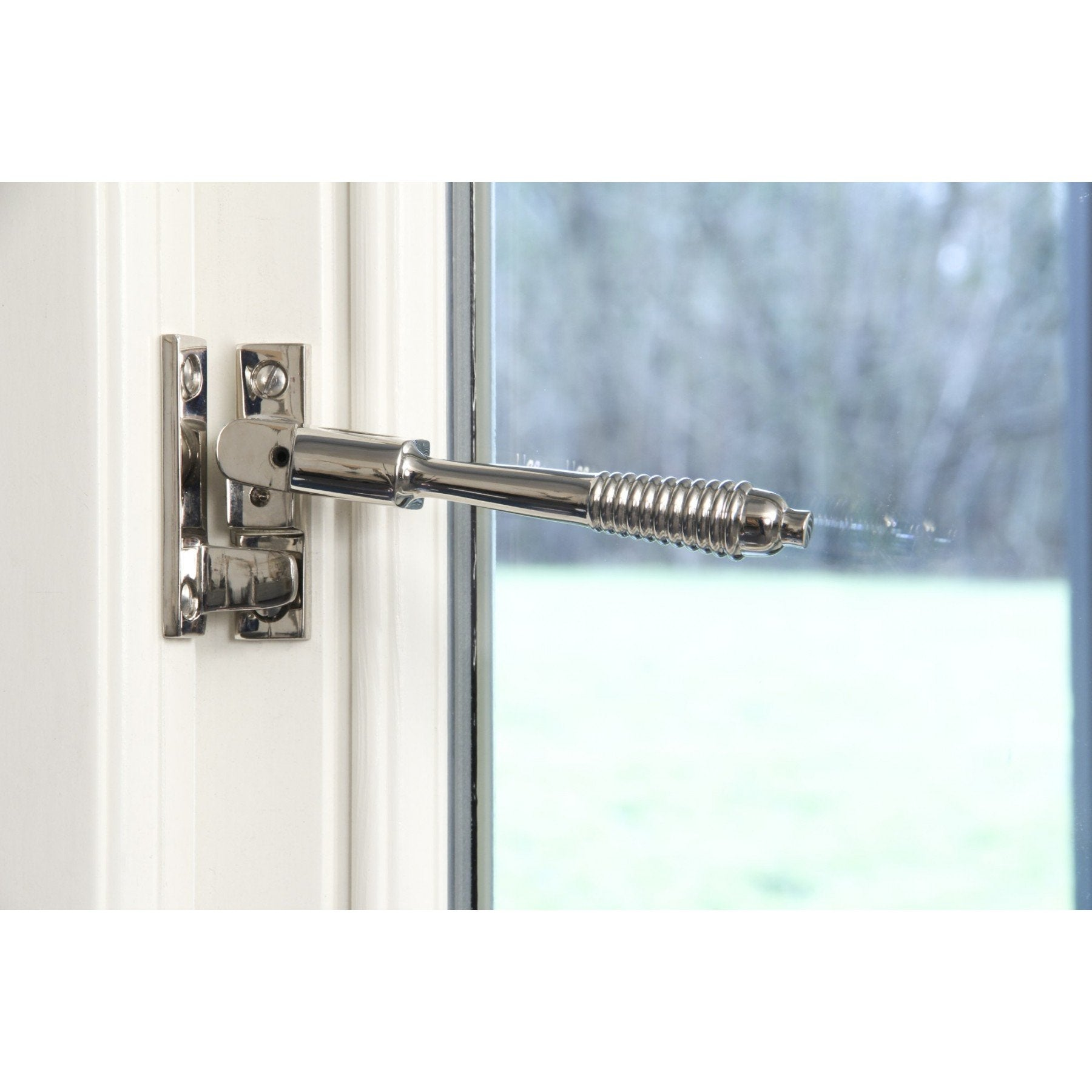 Polished Chrome Night Vent Reeded Fastener - Locking