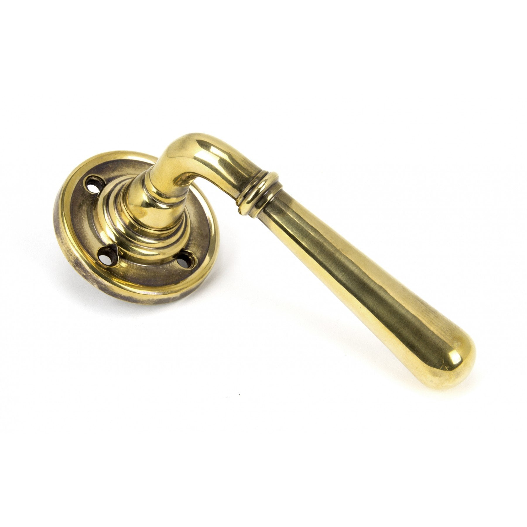 Aged Brass Newbury Lever on Rose - No.42 Interiors