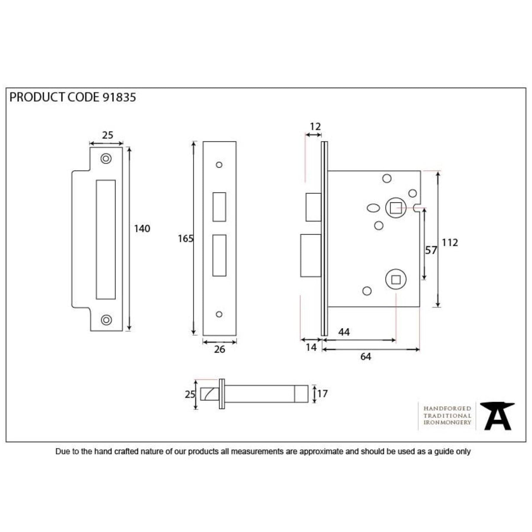 "From the Anvil PVD 2 1/2"" Heavy Duty Bathroom Mortice Lock - No.42 Interiors"