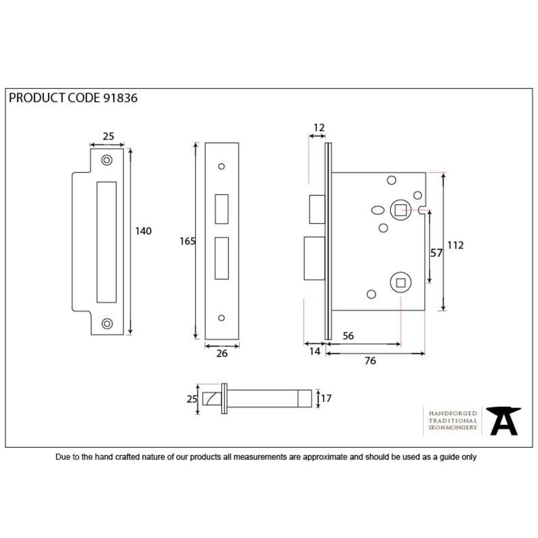 "From the Anvil PVD 3"" Heavy Duty Bathroom Mortice Lock - No.42 Interiors"