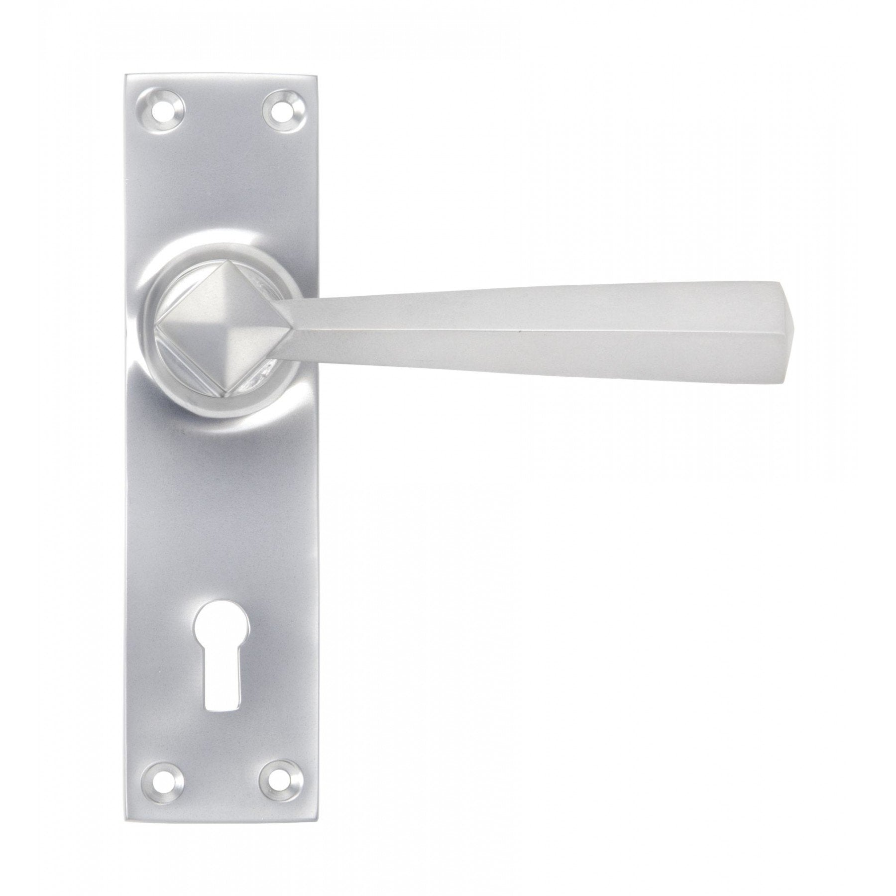 From The Anvil Satin Chrome Straight Lever Lock Set - No.42 Interiors