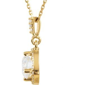 "14K Yellow 1 1/6 CTW Diamond Halo-Style 18"" Necklace"