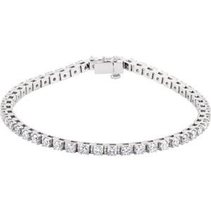 "14K White 3 3/8 CTW Diamond Line 7"" Bracelet"