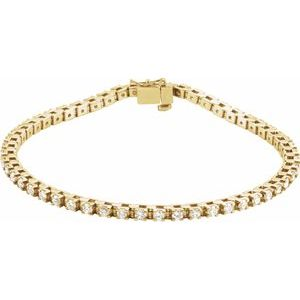"14K Yellow 2 1/8 CTW Diamond Line 7"" Bracelet"