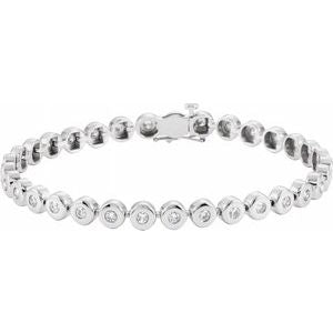 "14K White 2 CTW Diamond Bezel-Set Line 7"" Bracelet"