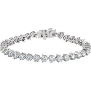 "18K White 12 CTW Diamond Line 7.25"" Bracelet"