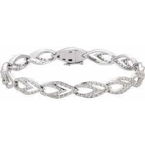 14K White 1 1/3 CTW Diamond Geometric Link Bracelet