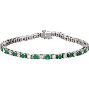14K White Emerald & 2 1/3 CTW Diamond Line 7