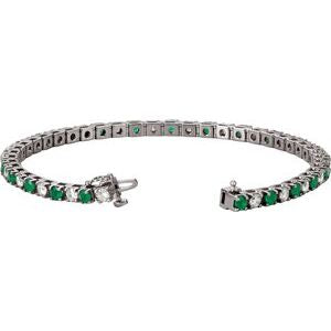 "14K White Emerald & 2 1/3 CTW Diamond Line 7""  Bracelet"