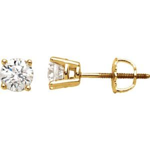 14K Yellow 1 CTW Diamond Stud Earrings