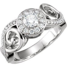 Load image into Gallery viewer, 14K White 9/10 CTW Diamond Infinity-Inspired Engagement Ring