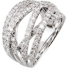 Load image into Gallery viewer, 14K White 1 1/2 CTW Diamond Criss-Cross Ring Size 10.5