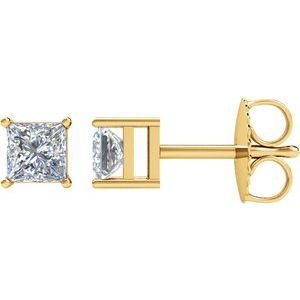 Square 4-Prong Stud Earrings