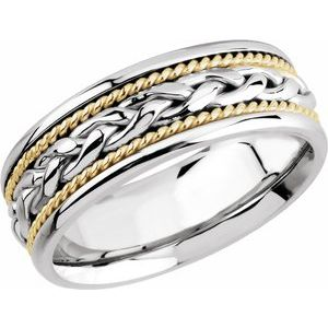 Platinum & 18K Yellow 8 mm Woven Band Size 9