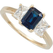 Load image into Gallery viewer, Blue Sapphire & Diamond Accented 3-Stone Ring