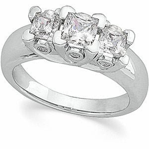 14K White 1 1/3 CTW Diamond Anniversary Ring