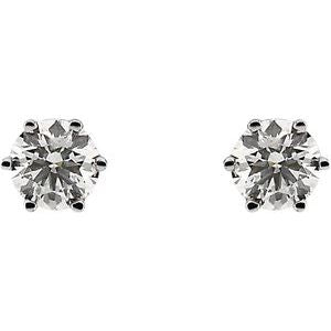 Round 6-Prong Stud Earrings