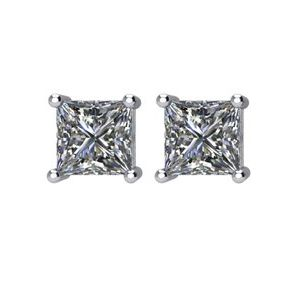 Square 4-Prong Wire Basket Stud Earrings
