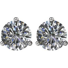 Load image into Gallery viewer, SI2-SI3 G-H Diamond & Platinum Threaded Post Stud Earrings