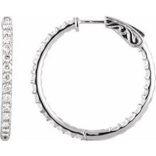 Load image into Gallery viewer, Platinum 2 CTW Diamond Inside-Outside 29.5 mm Hoop Earrings