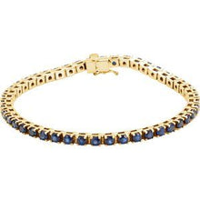 "Load image into Gallery viewer, 14K Yellow Blue Sapphire Line 7"" Bracelet"