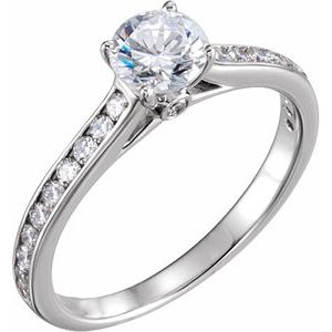 Accented Cathedral Engagement Ring or Band