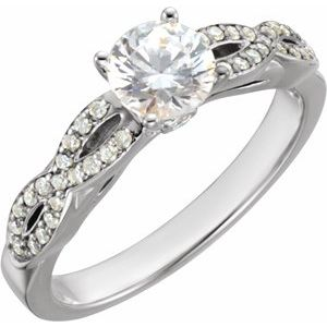 14K White 1 1/6 CTW Diamond Engagement Ring