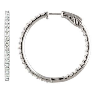 Platinum 5 CTW Diamond Inside-Outside 41.5 mm Hoop Earrings