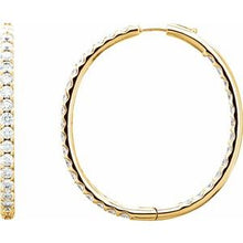 Load image into Gallery viewer, 18K Yellow 5 1/ CTW Diamond Inside-Outside Hinged 40 mm Hoop Earrings